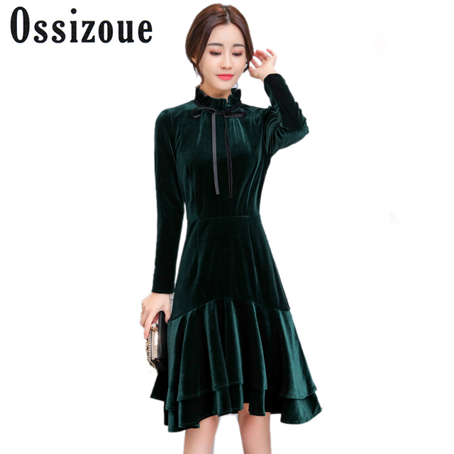 a6b064a8a2e Runway Dresses 2018 Women High Quality Spring Winter Green Velvet Dress  Vintage Sexy Evening Party Dresses Vestidos De Festa 3XL