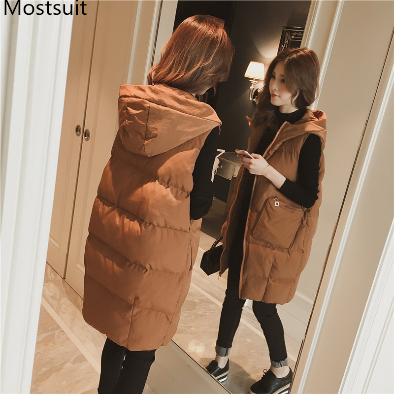 Autumn Winter Cotton Hooded Long Vest Women Sleeveless Ladies Casual Waistcoat Female Long Vest Jacket Slim Fit Warm Simple Coat
