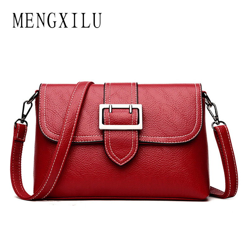 MENGXILU 2018 Fashion Lock Crossbody Bags For Women Messenger Bag Ladies High Quality PU leather Women Bag Small Flap Sac A main fashion pu leather small women messenger bags for girls flap candy color shoulder long chain crossbody bag for women ladies sac