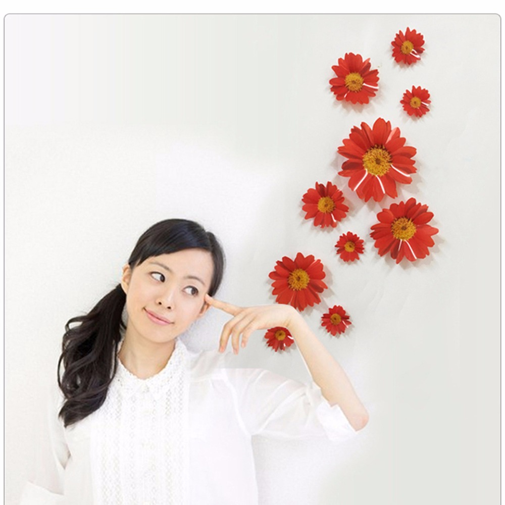 1Set 3D Wall Sticker Flowers Decorative Combination DIY Wall Decor Chrysanthemum Daisy Wall Decal for Home Bedroom Living Room