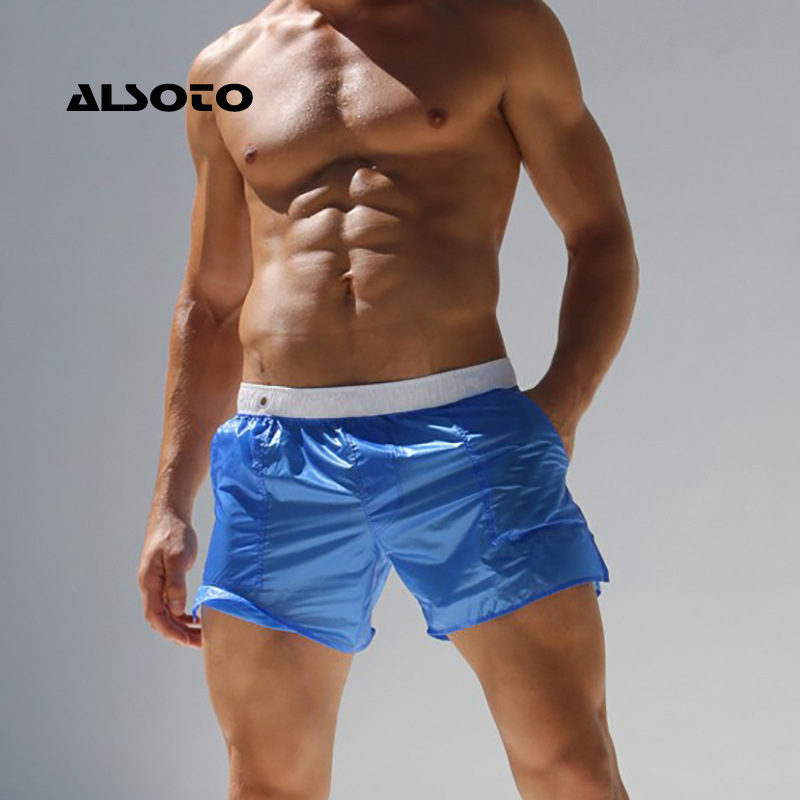 ALSOTO Men's Swimsuit Summer Beach   Shorts   Translucent Swim   Shorts   Surf   Short   De Bain Homme   Board   Swimwear Banadores Sea Swimwear