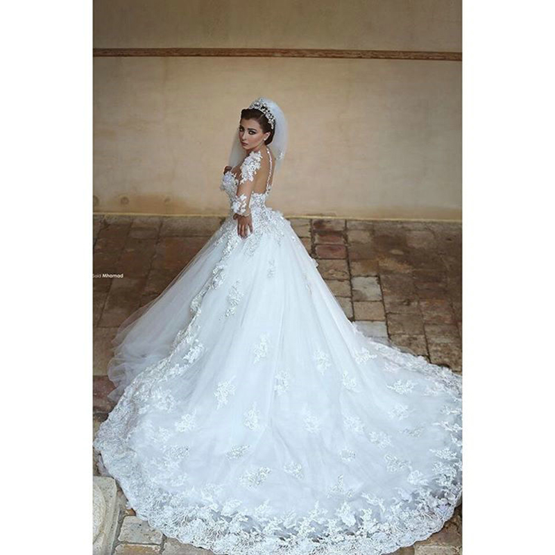 Said Mhamad Designer Sheer Long Sleeves Wedding Dress 2017 Lace Liqued Ball Gown Train Princess Bridal Gowns In Dresses From