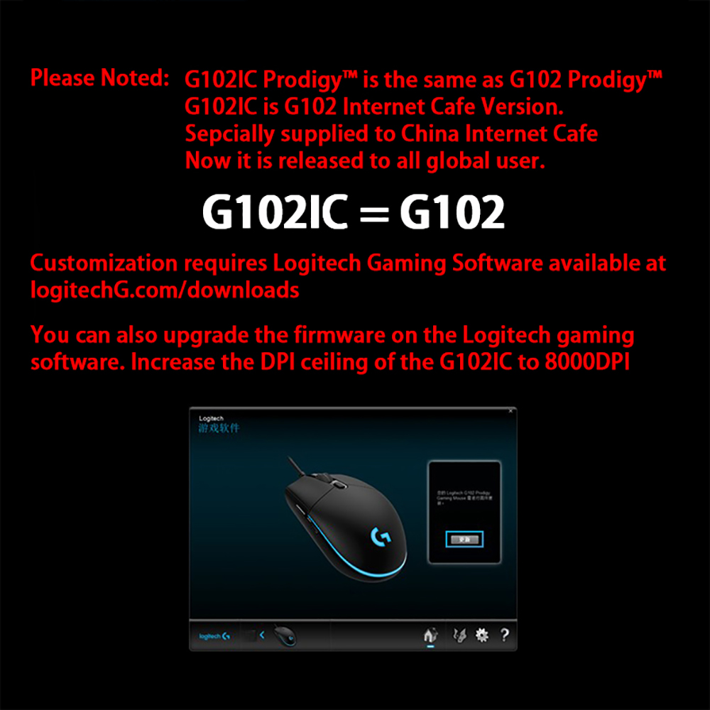 Logitech G102/G102IC Gaming Wired Mouse 6000DPI Optical Wired Game Mouse  Support windows 10/8/7 For Desktop / Laptop PC