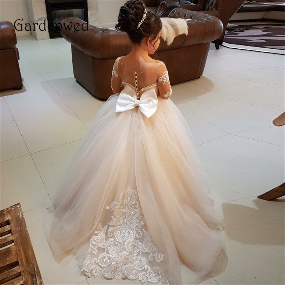 Lovely Lace Appliques Beaded   Flower     Girl     Dress   2019 Bow Knot Buttons Back Nude Sheer Tulle Long Sleeves vestido de floristas