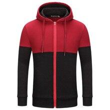 Europe Russia Spring Autumn Fashion Men Women Unisex Sweatshirts Red Black Patchwork Hooded Hoody Casual Pockets Zip Cardigan