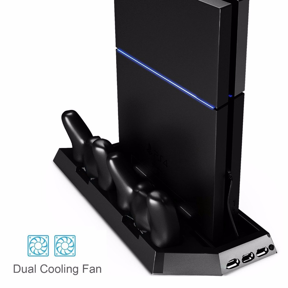 PS4 Vertical Stand Cooling Fan Dual Charging Station for Playstation 4 DualShock 4 Controllers, with Dual USB HUB Charger Ports