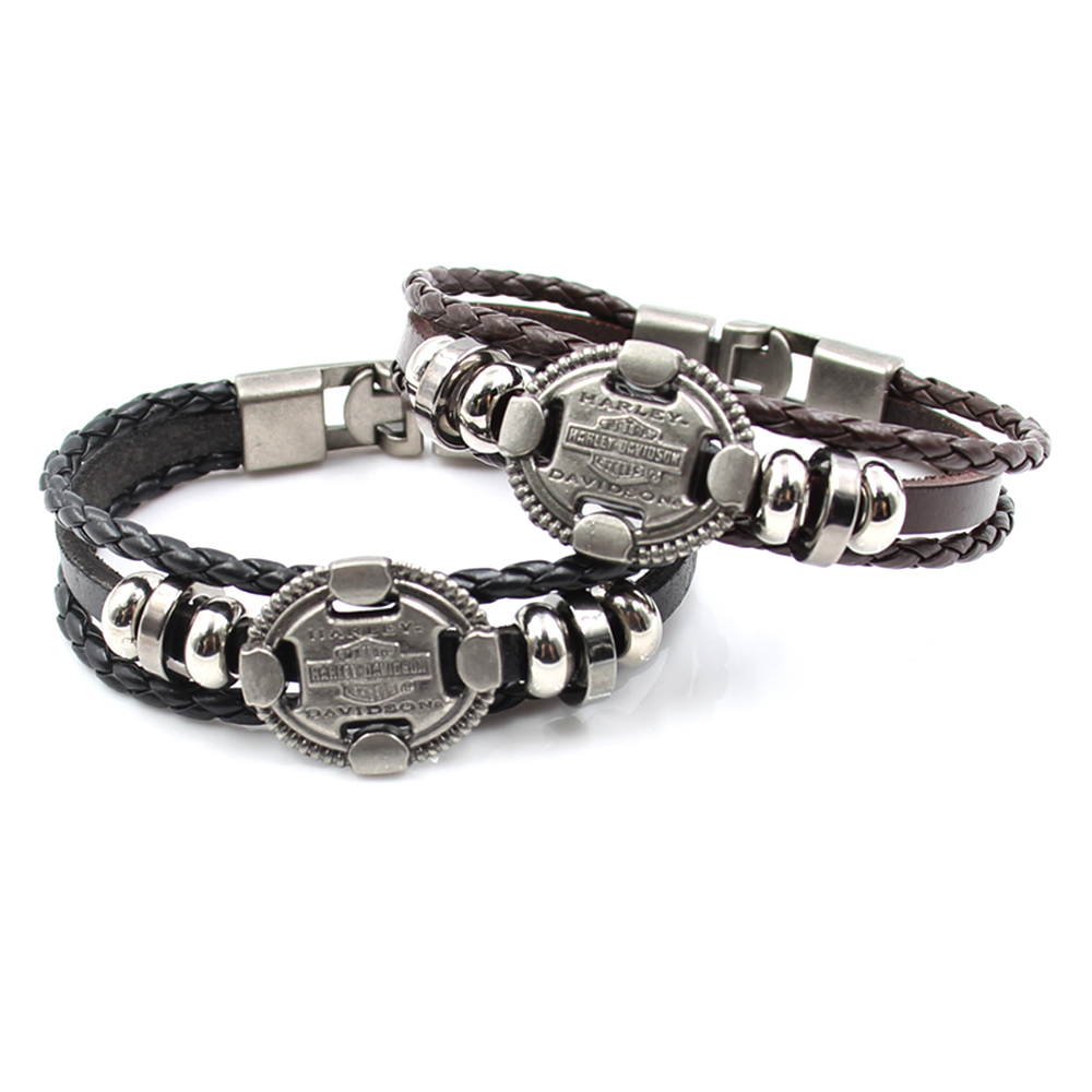 Men's New Genuine Leather Cuff Bracelet Black & Brown Beads  Multilayer