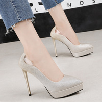 High Heels Pumps 12cm Sexy Platform Shoes Woman 2019 Glitter Wedding Shoes Transparent Back Stilettos Women Shoes Heels