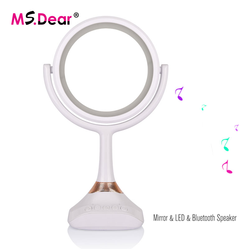 Smart Bluetooth Speaker Makeup Mirror With LED Table Lamp Mirror 1X/5X Magnifier USB Rechargeable Cosmetic Table Lamp Mirror