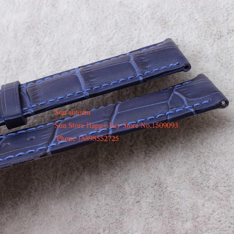 Оптовая продажа телячьей кожи Интимные аксессуары ремешок для часов Ремешок Булавки пряжка 12 мм 14 мм 16 мм 18mm20mm22mm кожаный ремешок Горячие море синий цвет