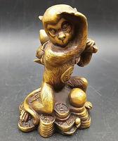Chinese archaize twelve Zodiac Fengshui Brass Wealth monkey Statue