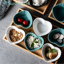 Creative Household Tableware Fruit Plate Snack Dish Ceramic Bowl Grid Nut Sauce Candy For Kitchen Supplies