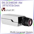Free shipping multi langauge version 2MP Full HD Box Camera 1080P POE DS-2CD4024F-AW IP camera IR network camera