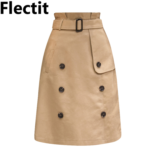 cec3369c78 Flectit Women Belted Double Breasted Trench Skirt Paperbag Waist Knee  Length Skirt in Black Khaki