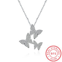 100% Real 925 Sterling Silver Jewelry Delicate Butterfly Pendant Necklaces for Women Lady Gifts Silver Chain SVN082