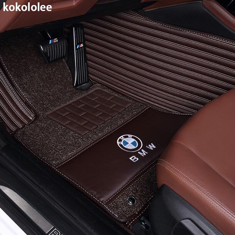 Kokololee Personnalisé tapis de sol voiture pour bmw f10 x5 e70 e53 x4 f11 x3 e83 x1 f48 e90 x6 e71 f34 e70 e30 z4 x2 étanche accessoires