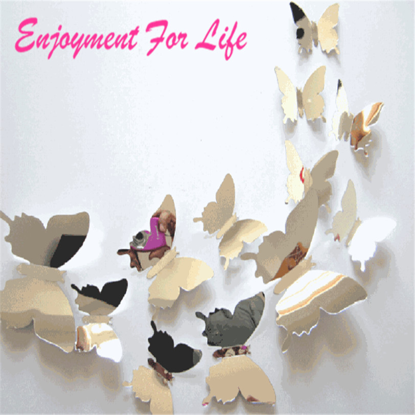12pcs/set Mirror Wall Stickers Decal Butterflies 3D Wall Art High Quality Home Decors fridge wall decal on sale Free Shipping ...