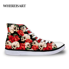 WHEREISART Women Vulcanized Shoes Casual High-top Canvas Skull Floral Print Student Lace-up Leisure Tenis Feminino
