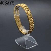 MCSAYS 18k Stainless Steel Mens Hip Hop Iced Out Bracelet Gold Color Silver Color 2 Colors