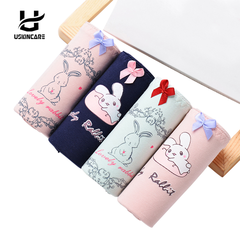 Uskincar Women Cotton Panties 4 pieces/lot Briefs Underwear Cartoon Bow Mid-waist Panties Breathable Girl's Intimates Lingerie