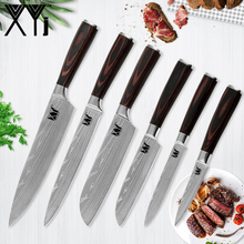 hot deal buy xyj kitchen knife 7cr17 stainless steel cooking knives accessories 8 inch 7 inch 5 inch 3.5 inch damascus veins kitchen knives