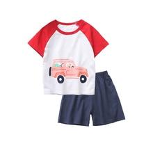 Boys Summer Pajamas Cartoon Car Pattern Clothing Fashion Pure Cotton Homewear Suit 2-7 Years Kids