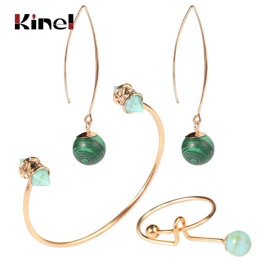 Kinel Rings Bracelets Jewelry-Sets Pendant Natural-Stone Wedding-Party Gold Women Fashion