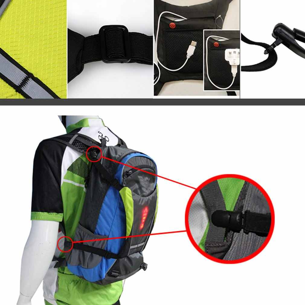 LED Turn Signal Light Reflective Vest Backpack Waist Pack Business Travel Laptop School Bag Night Cycling Backpack Accessory