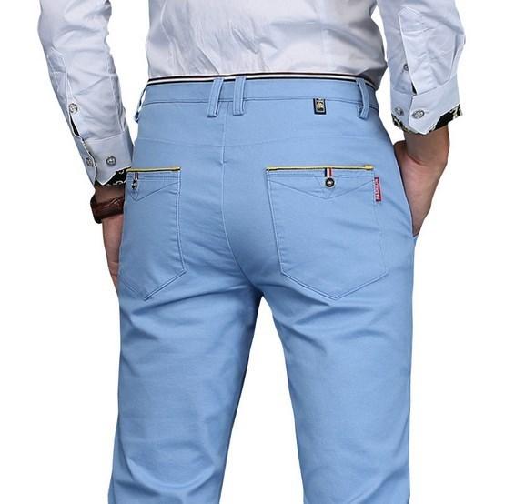 Más el tamaño de los hombres rectos pantalones solid negro blanco azul gris khaki pantalon homme para hombre casual de negocios pantalones de vestir regular fit