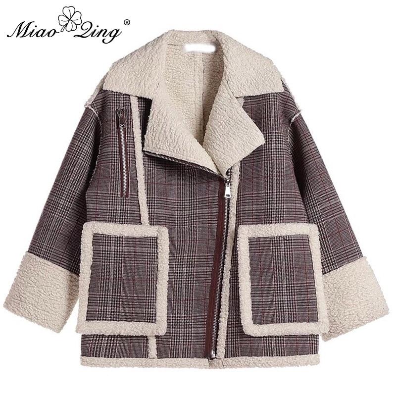 2018 Patchwork Femmes Mode Cardigan Streetwear Surdimensionné Miaoqing D'hiver Poches Plaid De Chaud Vêtements Manteau Vintage Gris Vestes 7pt4qxwRf