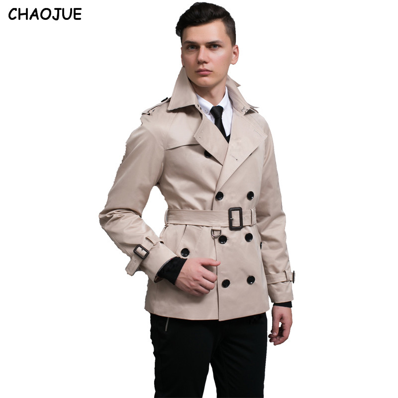 CHAOJUE New Men's Trench Coat England Quality Beige Trenchcoat Plus Size 3XL Mens Trench Coat Male Slim Fit Jacket For Gift