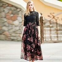 High End 2017 Women Spring Summer Fashion Brand Black Floral Print Bow Long Casual Maxi Beach
