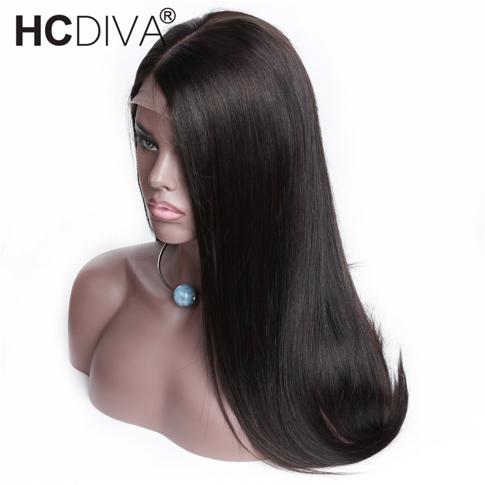 Straight Middle Part Lace Frontal Wigs Peruvian Remy Human Hair Wigs Pre Plucked With Baby Hair Lace Frontal Hair Wigs HCDIVA