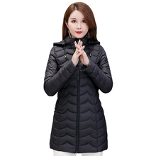 2019 Autumn Winter Jackets Women Thin Down Jacket Hooded Medium-Long Cotton Padded Coat Winter Outwear Plus Size 4XL Warm Parka цены онлайн