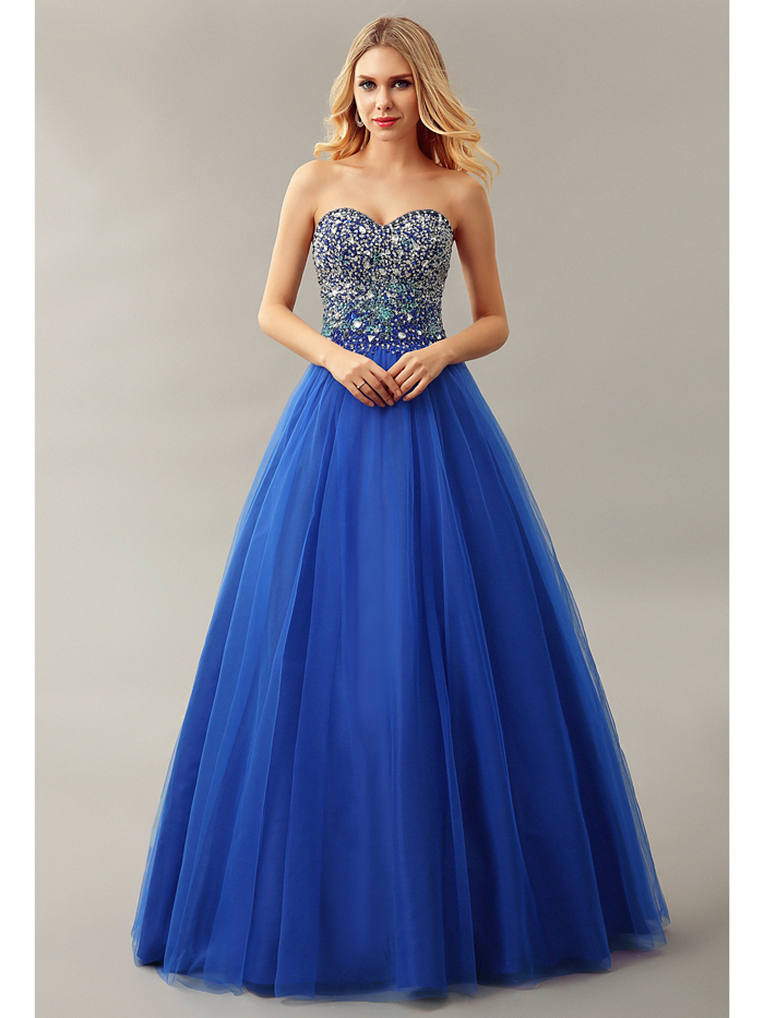 2016 Royal Blue Floor Length Sweetheart Beaded Crystals Long Ball Gown Puffy Tulle Teens Prom Dresses Gowns vestidos de fiesta
