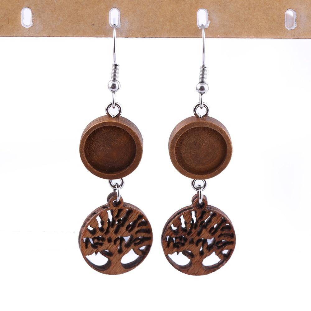 reidgaller 10 pairs 12mm wood cabochon earring base settings diy blank wooden earrings findings for jewelry making отсутствует покупаем от а до я 03 43 2013