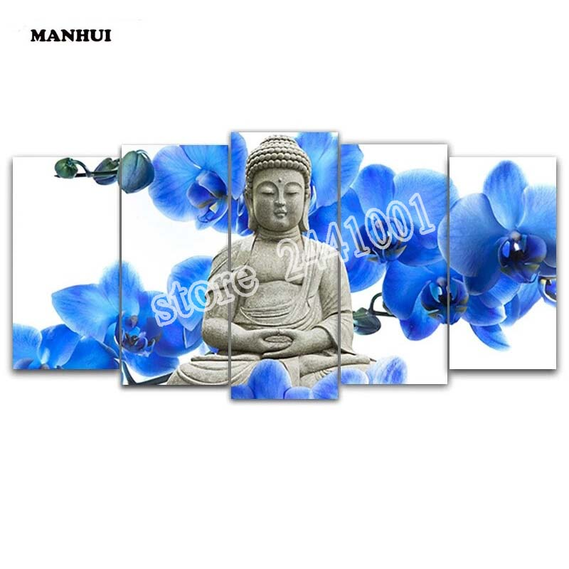 DIY Diamond Embroidery 5D Diamond painting Diamond mosaic needlework Crafts Christmas decor Buddha 5pcs set BSM008