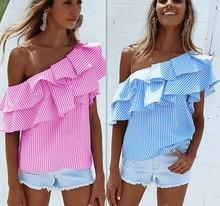 One Shoulder Ruffles Tee Shirt Women Tops 2017 Summer Femme Blue Striped Tshirt Slash Neck Cold Shoulder Tops