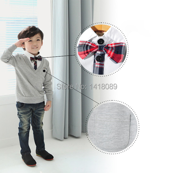2017-New-Kids-Boys-School-Bow-Tie-Long-Sleeve-Pullover-Sweater-Knit-Wear-Knitted-1-4T-4