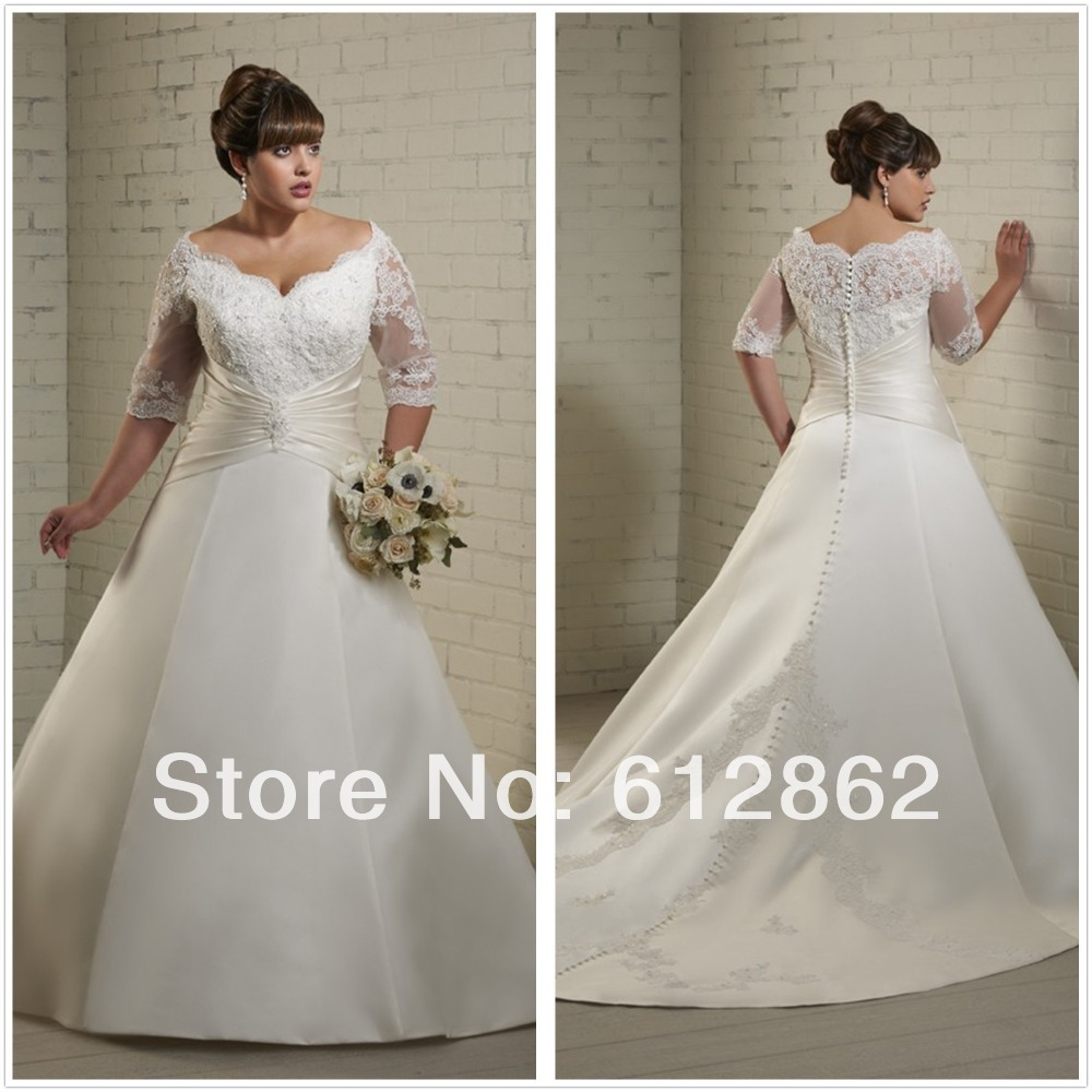 Aliexpress buy half sleeve v neck long train lace bodice aliexpress buy half sleeve v neck long train lace bodice satin skirt wedding dresses for big size woman from reliable dress pants for girls suppliers ombrellifo Images