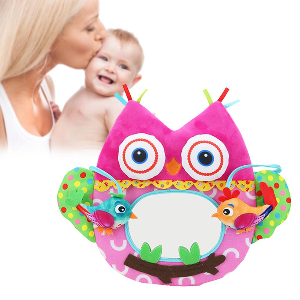 Distorting Mirror Animal Owls Newborn Infant Baby Play Toy Rattle Bed Bell Plush Toys Doll  for 0-3 Years