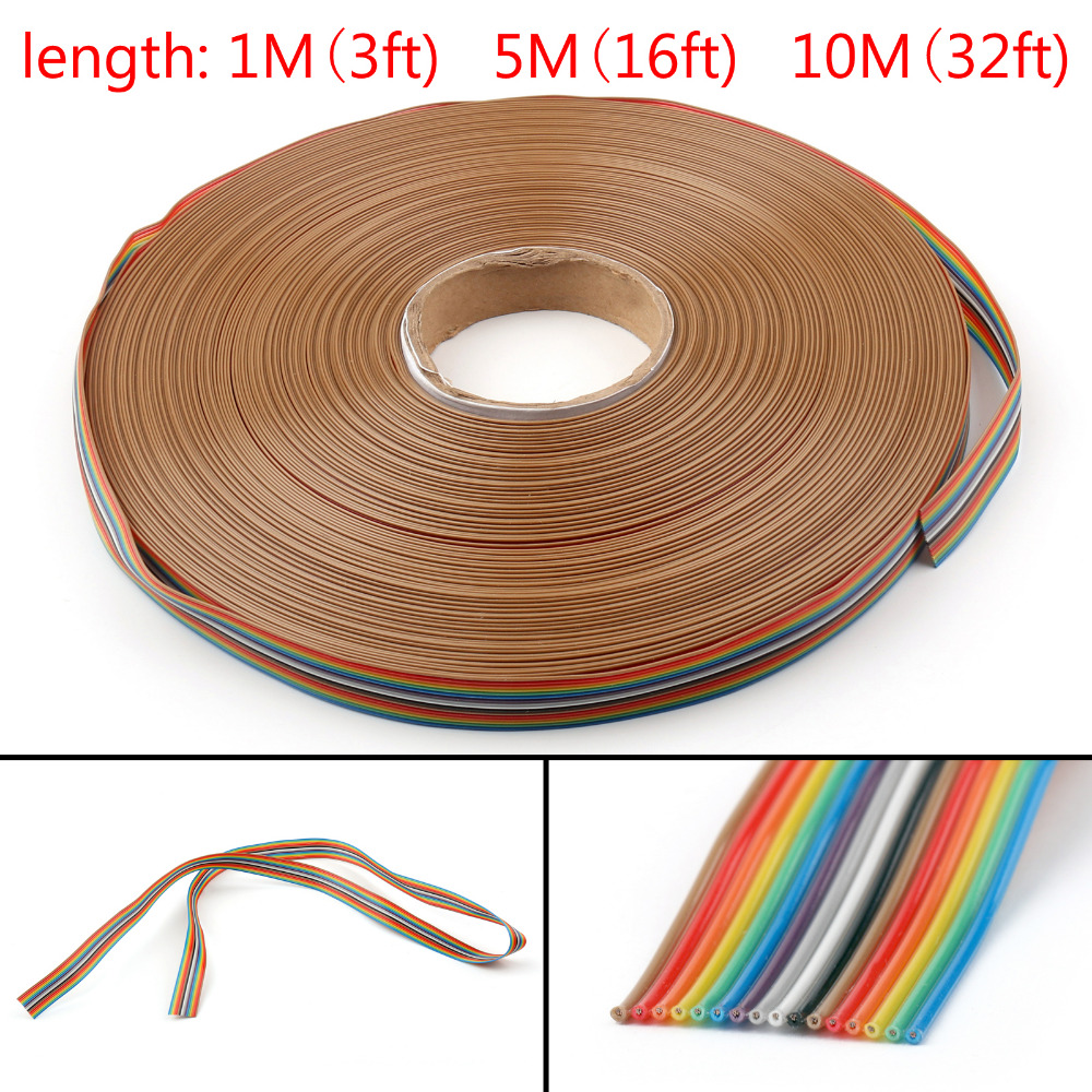Areyourshop 16Pin Color Rainbow Ribbon Wire Cable Flat 1.27mm Spacing Pitch Max 300V 1M/5M/10M New Arrival Cables Wires