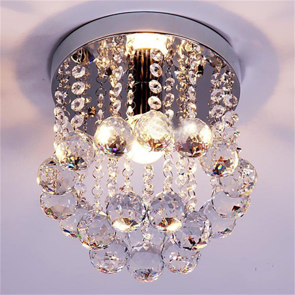 Crystal Droplets Silver Chrome Ceiling Light Chandelier Fitting Lamp Decoration for Parlor Foyer