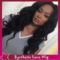 Free Part Wave Synthetic Wigs Baby Hair Pelucas Pelo Natural Glueless Lace Front Black Women Half Hand Wig 1b#Off Black Can Heat