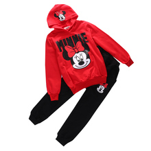 2pcs Baby Girls Kids Minnie Mouse Clothes Set Long Sleeve Hooded Coat Pants Oufits Clothes Set 2-7Y (China)