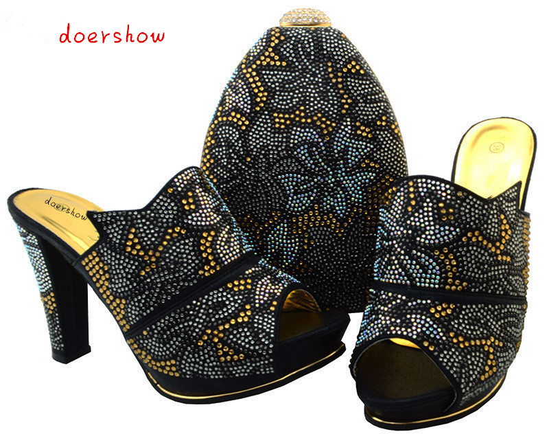doershow Shoes and Bag To Match for Parties High Quality Italian Ladies Shoes and Bag Set Decorated with Rhinestone BCH1-32 top selling italian shoes and bag to match good quality fashionable shoes and bag set for lady pme1 12