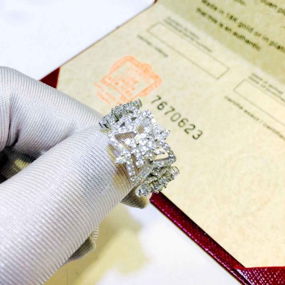 Nouveau pur 925 bijoux en argent Sterling creux étoile anneau pour les femmes de mariage couleur argent anneau ouvert Top qualité en gros