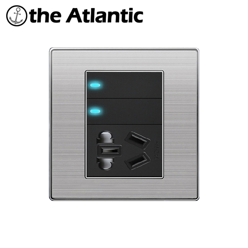 Atlantic Stainless Steel Panel 2 Gang 1 Way Light Switch