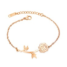 Charm Stainless steel Rose FLOWER Bangles Bracelets For Women Adjustable Gold color party Jewelry gift Top Quality