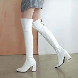 Женские сапоги на высоком каблуке, модные сапоги выше колена из искусственной кожи, пикантные Сапоги на молнии с острым носком
